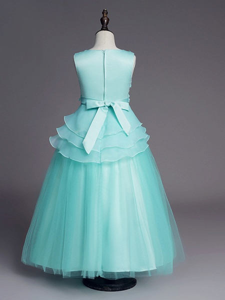 Princess Long Length Wedding / First Communion Flower Girl Dresses - Satin / Tulle Sleeveless Jewel Neck With Belt / Beading / Embroidery_10