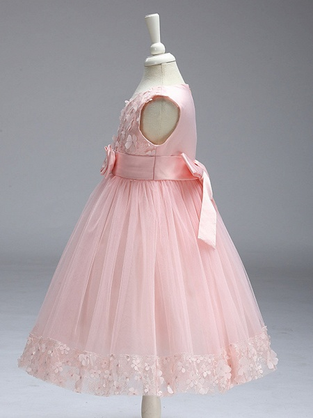 Ball Gown Knee Length Wedding / Party Flower Girl Dresses - Tulle Sleeveless Jewel Neck With Bow(S)_19