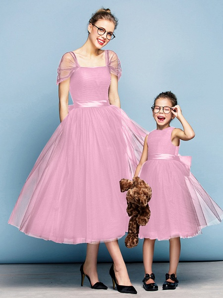 Princess Tea Length Party / Prom / Formal Evening Flower Girl Dresses - Tulle Short Sleeve Square Neck With Bow(S) / Ruched / Elegant_11