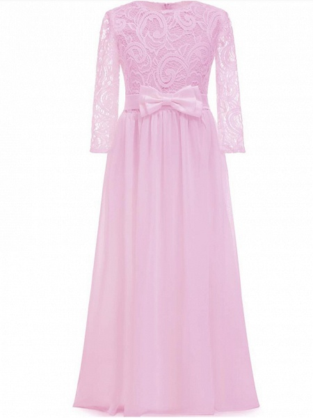 Sheath / Column Long Length Christmas / Wedding / First Communion Flower Girl Dresses - Chiffon / Lace Long Sleeve Jewel Neck With Lace / Bow(S)_5