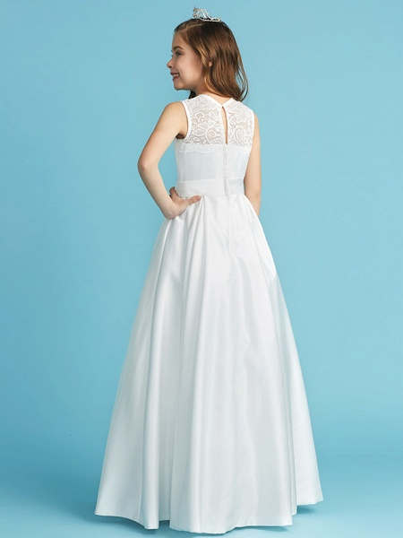 Princess / A-Line Jewel Neck Floor Length Lace / Satin Junior Bridesmaid Dress With Lace / Bow(S) / Pleats_5