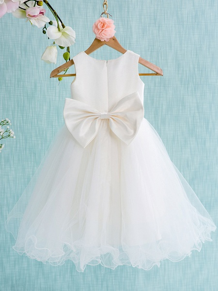 Ball Gown Knee Length Wedding / First Communion Flower Girl Dresses - Satin / Tulle Sleeveless Jewel Neck With Bow(S) / Beading_2