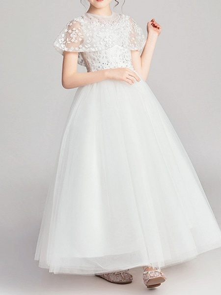 Ball Gown Ankle Length Pageant Flower Girl Dresses - Polyester Short Sleeve Jewel Neck With Appliques_4