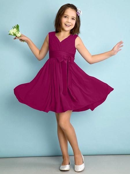 A-Line V Neck Knee Length Chiffon Junior Bridesmaid Dress With Bow(S) / Criss Cross / Natural_40