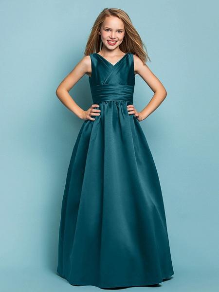 Princess / A-Line V Neck Floor Length Satin Junior Bridesmaid Dress With Sash / Ribbon / Criss Cross / Spring / Summer / Fall / Apple / Hourglass_34