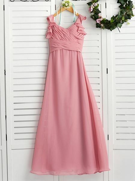 A-Line Boat Neck Maxi Chiffon Junior Bridesmaid Dress With Cascading Ruffles / Ruching_4
