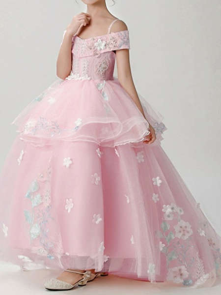 Ball Gown Sweep / Brush Train Pageant Flower Girl Dresses - Polyester Short Sleeve Spaghetti Strap With Appliques_2