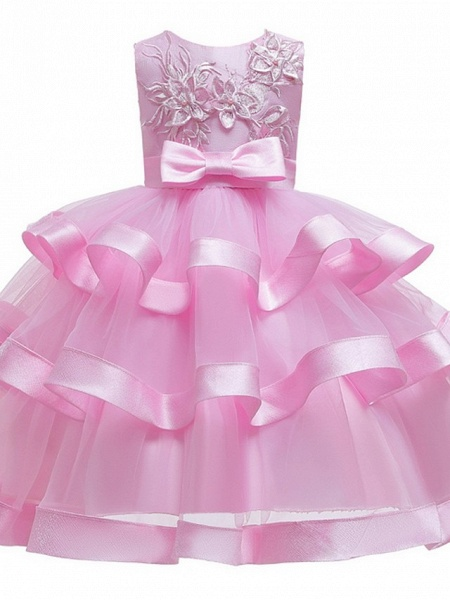 Princess / Ball Gown Knee Length Wedding / Party Flower Girl Dresses - Tulle Sleeveless Jewel Neck With Sash / Ribbon / Bow(S) / Tier_7