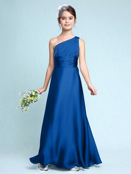 Sheath / Column One Shoulder Floor Length Chiffon Satin Junior Bridesmaid Dress With Ruched / Side Draping / Natural_35