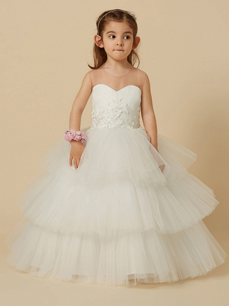 Ball Gown Floor Length Wedding / First Communion Flower Girl Dresses - Satin / Tulle Sleeveless Illusion Neck With Buttons / Flower_4