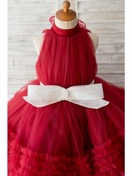 Ball Gown Knee Length Wedding / Birthday Flower Girl Dresses - Tulle Sleeveless Halter Neck / High Neck With Bow(S)_3