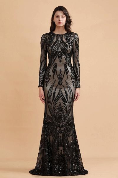 Luxury Black Round neck Sequined Detachable Overskirt Prom Dress_6