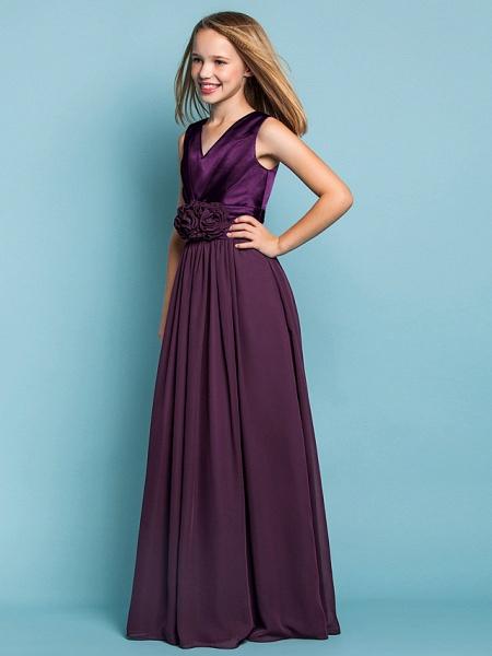 Sheath / Column V Neck Floor Length Chiffon Junior Bridesmaid Dress With Flower / Spring / Summer / Fall / Apple / Hourglass_3