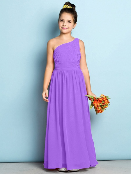 A-Line One Shoulder Ankle Length Chiffon Junior Bridesmaid Dress With Side Draping / Natural / Mini Me_29