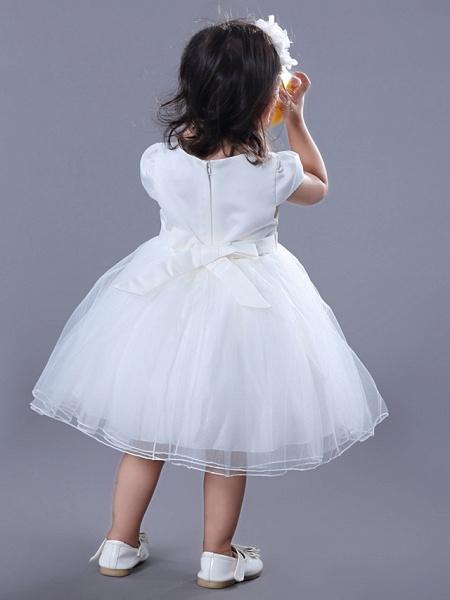 Ball Gown Medium Length Wedding / Birthday Flower Girl Dresses - Satin / Tulle Short Sleeve Jewel Neck With Beading / Embroidery / Flower_5