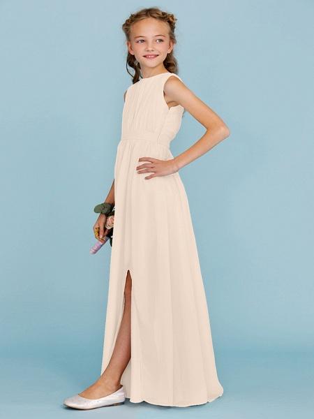 Sheath / Column Crew Neck Floor Length Chiffon Junior Bridesmaid Dress With Sash / Ribbon / Draping / Split Front / Wedding Party / Furcal_16