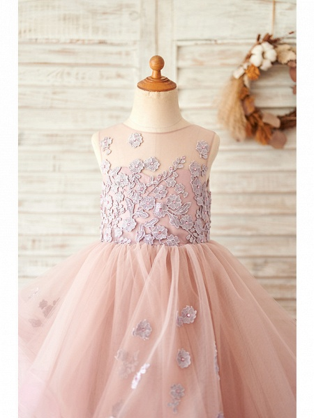 Ball Gown Floor Length Wedding / Birthday Flower Girl Dresses - Lace / Tulle Sleeveless Jewel Neck With Lace_3
