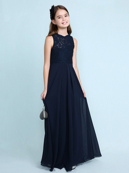 Sheath / Column Scoop Neck Floor Length Chiffon / Lace Junior Bridesmaid Dress With Lace / Natural_6