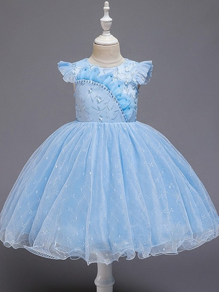 Princess / Ball Gown Knee Length Wedding / Party Flower Girl Dresses - Tulle Cap Sleeve Jewel Neck With Bow(S) / Embroidery_5