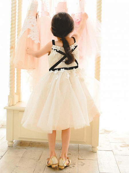 Ball Gown Tea Length Wedding / Birthday / Pageant Flower Girl Dresses - Lace / Tulle Sleeveless Spaghetti Strap With Sash / Ribbon_2