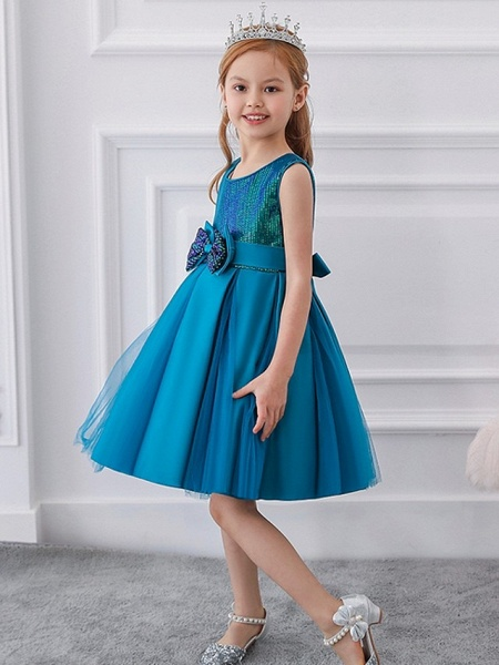 Princess / Ball Gown Knee Length Wedding / Party Flower Girl Dresses - Tulle Sleeveless Jewel Neck With Sash / Ribbon / Bow(S) / Paillette_5