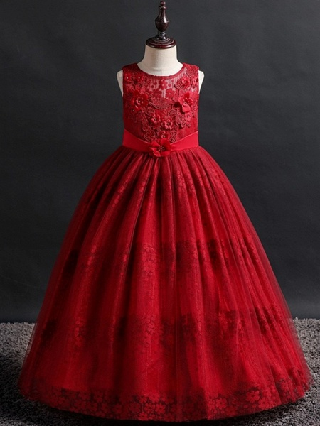 Princess / Ball Gown Floor Length Wedding / Party Flower Girl Dresses - Lace / Tulle Sleeveless Jewel Neck With Bow(S) / Appliques_4