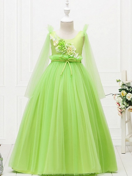 Princess / Ball Gown Floor Length Wedding / Party Flower Girl Dresses - Tulle Long Sleeve Jewel Neck With Bow(S) / Flower_3