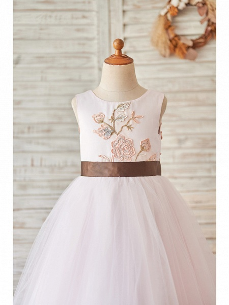 Princess / Ball Gown Floor Length Wedding / Birthday Flower Girl Dresses - Tulle Sleeveless Jewel Neck With Belt / Embroidery_3
