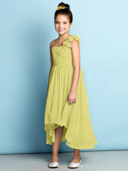 A-Line One Shoulder Asymmetrical Chiffon Junior Bridesmaid Dress With Criss Cross / Flower / Natural / Mini Me_21