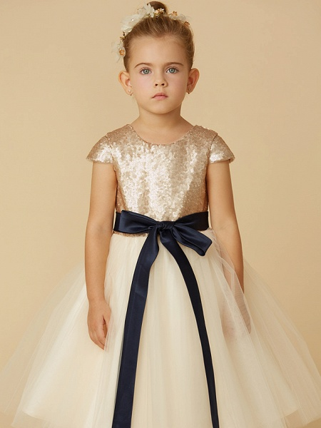 Princess Tea Length Pageant Flower Girl Dresses - Tulle / Sequined Short Sleeve Jewel Neck With Sash / Ribbon / Bow(S) / Sequin_6