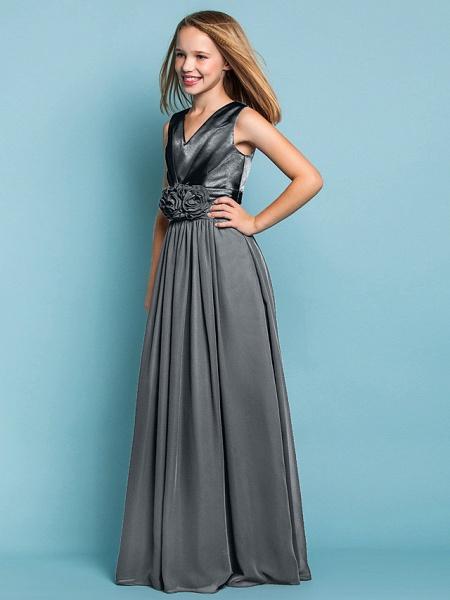 Sheath / Column V Neck Floor Length Chiffon Junior Bridesmaid Dress With Flower / Spring / Summer / Fall / Apple / Hourglass_47