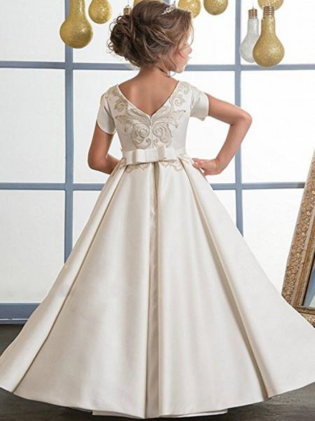 A-Line Floor Length Wedding / Birthday / Pageant Flower Girl Dresses - Mikado / Cotton Short Sleeve Jewel Neck With Sash / Ribbon / Pattern / Print_2