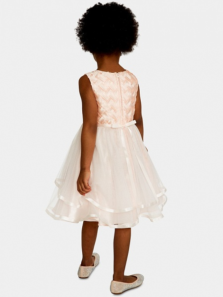 A-Line Knee Length Wedding / Party Flower Girl Dresses - Satin / Tulle Sleeveless Jewel Neck With Bow(S) / Appliques_2