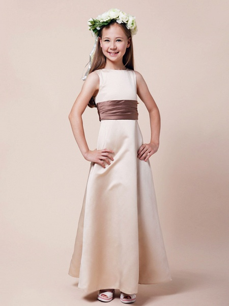 Princess / A-Line Bateau Neck Floor Length Satin Junior Bridesmaid Dress With Sash / Ribbon / Ruched / Spring / Summer / Fall / Winter / Apple_1