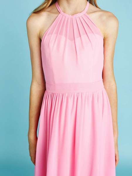 A-Line Halter Neck Floor Length Chiffon Junior Bridesmaid Dress With Sash / Ribbon / Natural_9