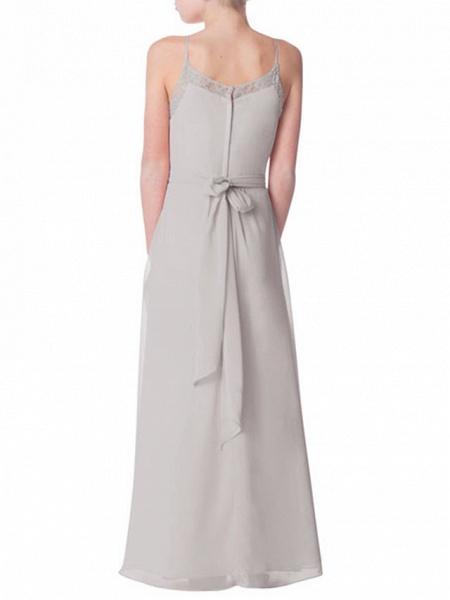 A-Line Crew Neck Floor Length Chiffon Junior Bridesmaid Dress With Bandage_2