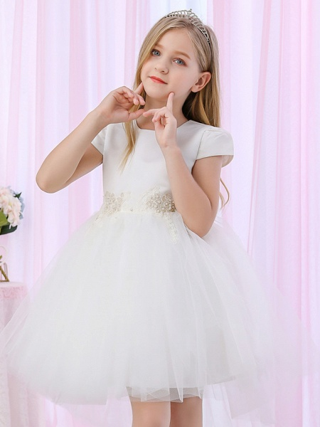 Princess / Ball Gown Medium Length Wedding / Event / Party Flower Girl Dresses - Satin / Tulle Cap Sleeve Jewel Neck With Beading / Appliques / Color Block_5