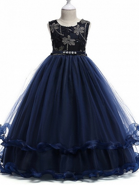 Princess Round Floor Length Cotton Junior Bridesmaid Dress With Bow(S) / Crystals / Appliques_4