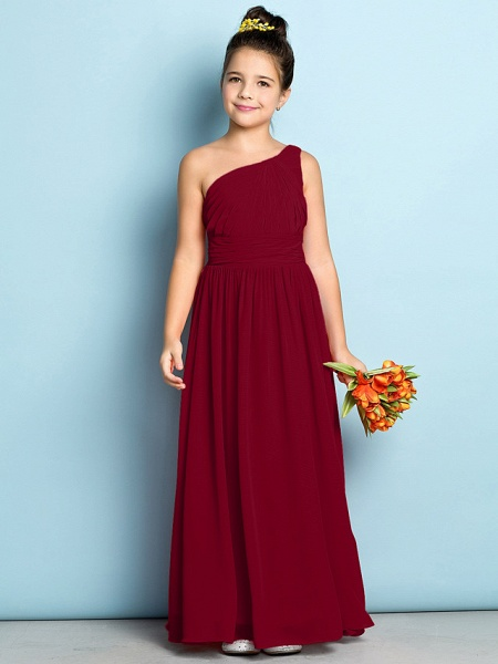 A-Line One Shoulder Ankle Length Chiffon Junior Bridesmaid Dress With Side Draping / Natural / Mini Me_14