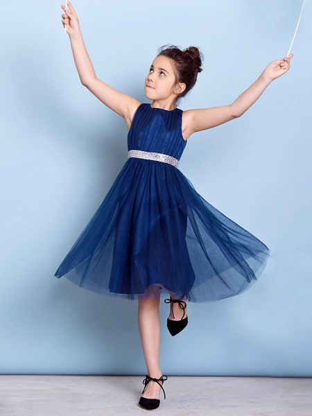 A-Line Jewel Neck Knee Length Tulle Junior Bridesmaid Dress With Sash / Ribbon / Sequin / Draping / Natural_1