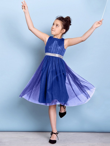 A-Line Jewel Neck Knee Length Tulle Junior Bridesmaid Dress With Sash / Ribbon / Sequin / Draping / Natural_44