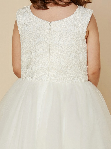 Princess Knee Length Wedding / First Communion Flower Girl Dresses - Lace / Satin / Tulle Sleeveless Jewel Neck With Lace_7