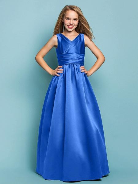 Princess / A-Line V Neck Floor Length Satin Junior Bridesmaid Dress With Sash / Ribbon / Criss Cross / Spring / Summer / Fall / Apple / Hourglass_32