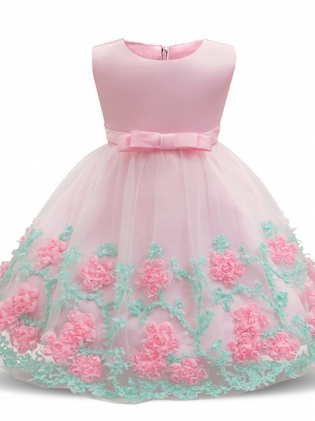 Princess Long Length Wedding / Party / Pageant Flower Girl Dresses - Satin / Tulle Sleeveless Jewel Neck With Petal / Bow(S) / Appliques_3