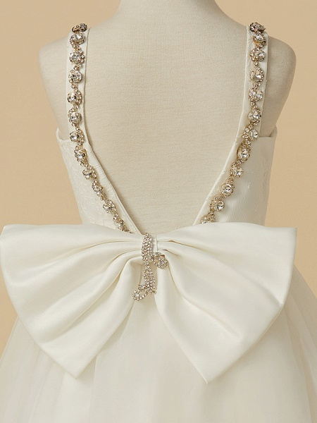 A-Line Ankle Length Wedding / First Communion Flower Girl Dresses - Lace / Tulle Sleeveless Straps With Bow(S) / Beading_4