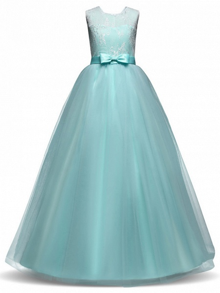 Princess Long Length Party / Birthday / Pageant Flower Girl Dresses - Lace / Tulle Sleeveless Jewel Neck With Lace / Bow(S)_10