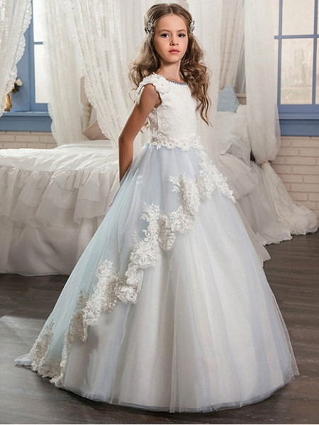 Ball Gown Floor Length Wedding / Event / Party Flower Girl Dresses - Poly Sleeveless Jewel Neck With Lace / Appliques_1