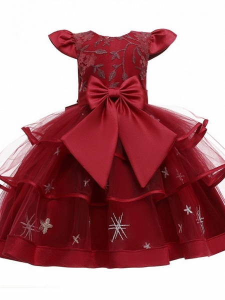 Princess / Ball Gown Knee Length Wedding / Party Flower Girl Dresses - Tulle Short Sleeve Jewel Neck With Bow(S) / Embroidery / Cascading Ruffles_6