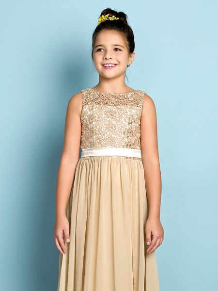 A-Line Scoop Neck Floor Length Chiffon / Lace Junior Bridesmaid Dress With Lace / Natural / Mini Me_8