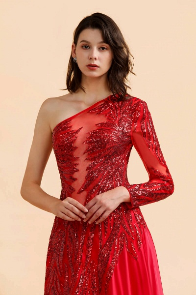 One Shoulder Mermaid Sequins Fuchsia Evening Dresses with Sleeves_3